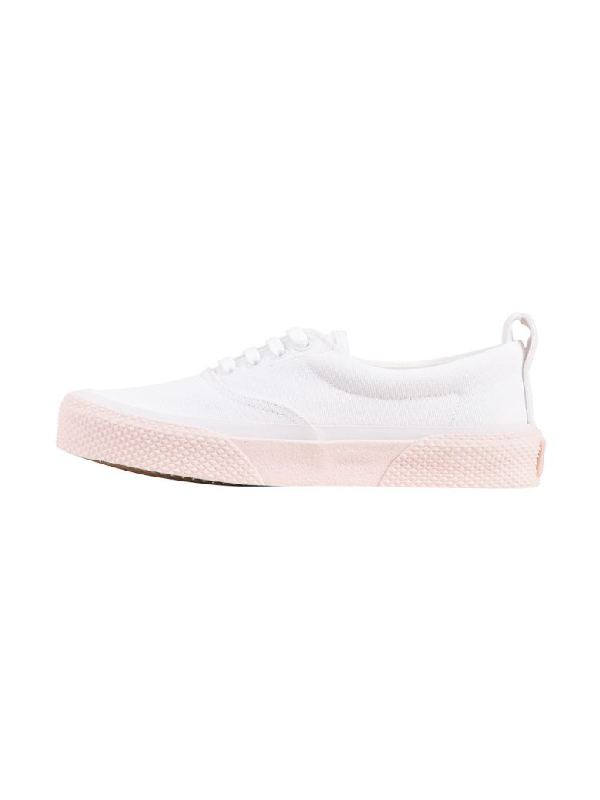Celine 180° Lace Up Sneaker In White-pink