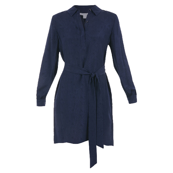 Diane Von Furstenberg Seanna Silk Dress In Navy Blue