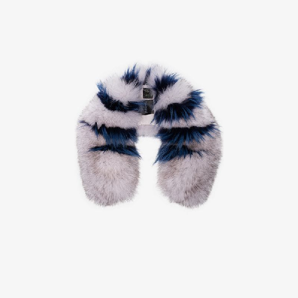 Mr & Mrs Italy Pink And Blue Striped Fur Collar In White