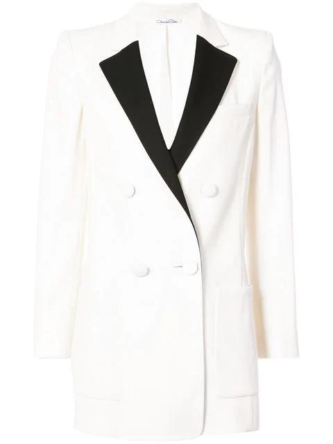 Oscar De La Renta Contrast Trim Blazer In White