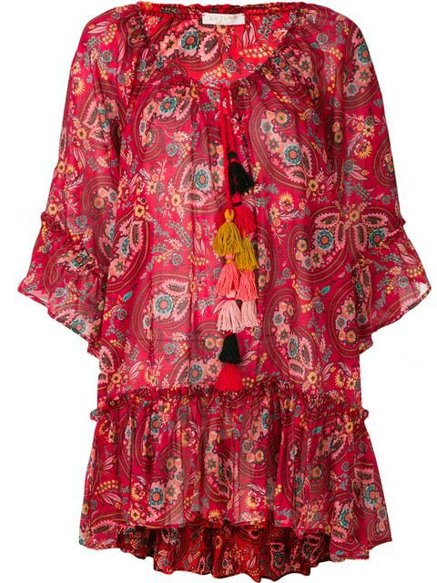 Anjuna Darya Ruffled Printed Cotton-gauze Kaftan In Red