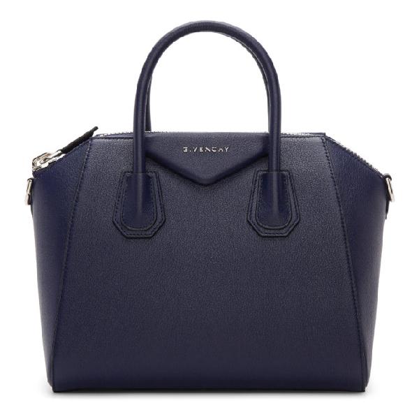 Givenchy Navy Medium Antigona Bag In 403 Navy