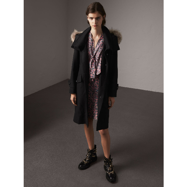 Burberry Hooded Wool Blend Coat With Detachable Fur Trim In Black