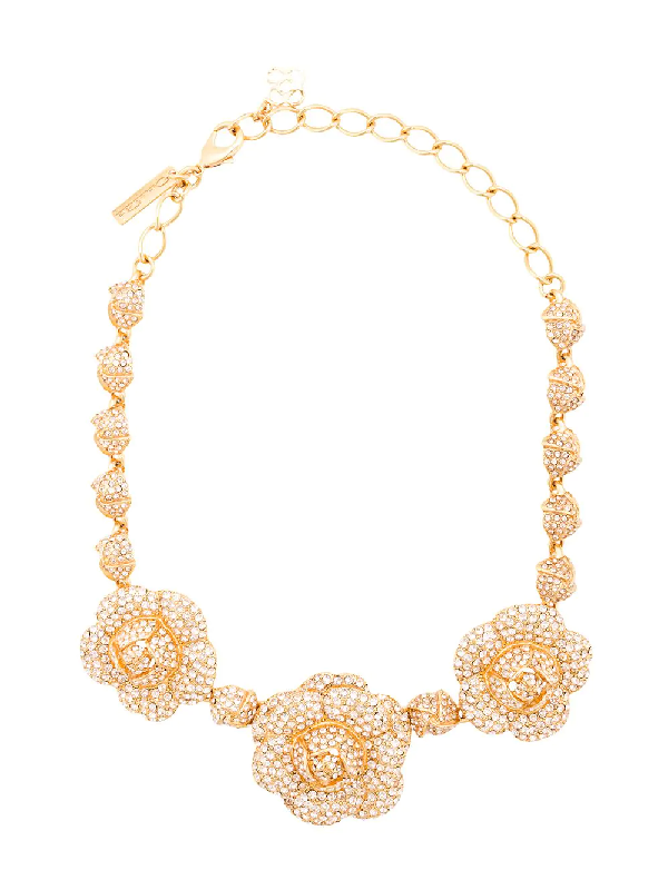 Oscar De La Renta Gardenia Necklace In Metallic