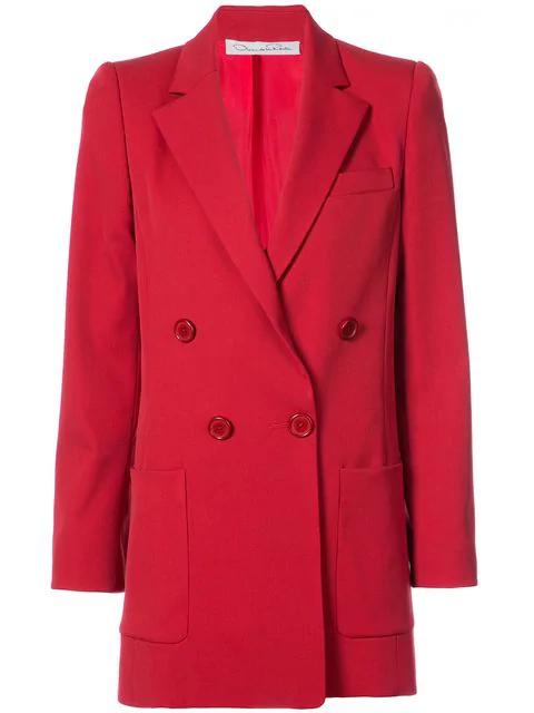 Oscar De La Renta Double Breasted Jacket - Red