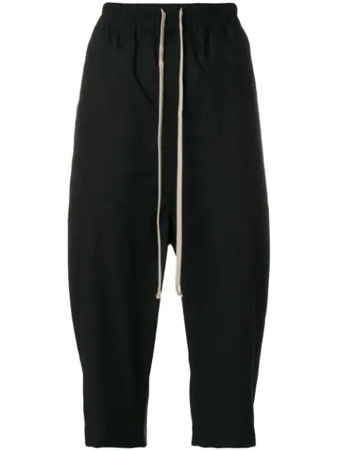 Rick Owens Drkshdw Drawstring Cropped Trousers In Black