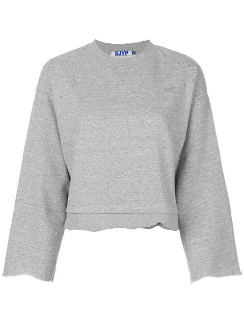 Sjyp Raw Edge Sweatshirt - Grey