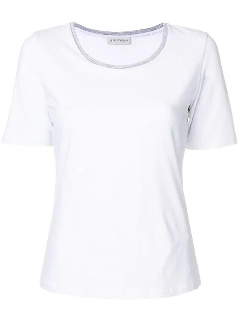3bba1f6479f4d0 Le Tricot Perugia T-Shirt Mit Rundhalsausschnitt - Weiß In White ...