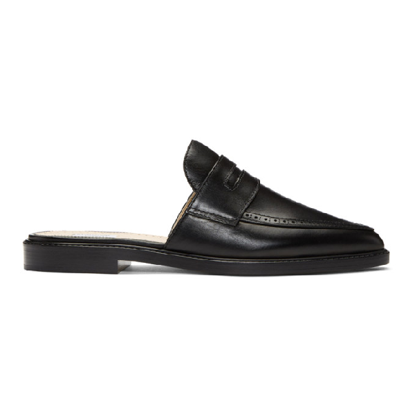 Thom Browne Penny Loafer Mule With Leather Sole In Calf Leather In Black