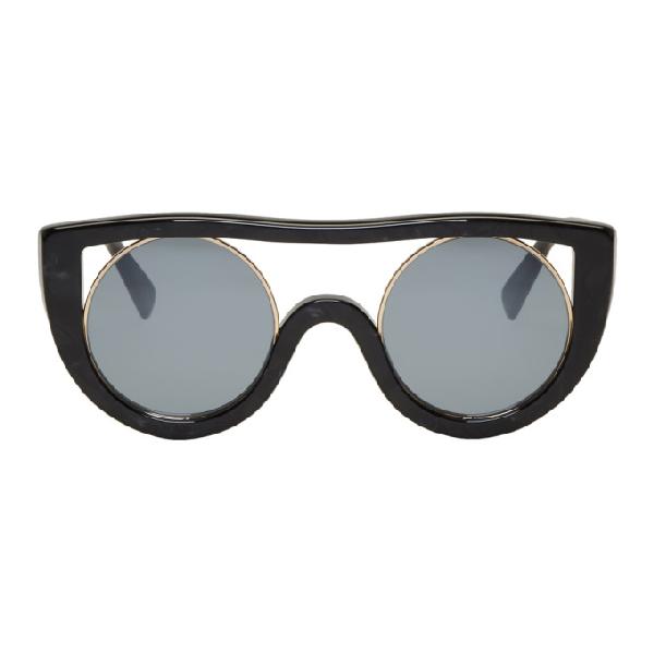 Oliver Peoples Black & Gold Ayer Sunglasses