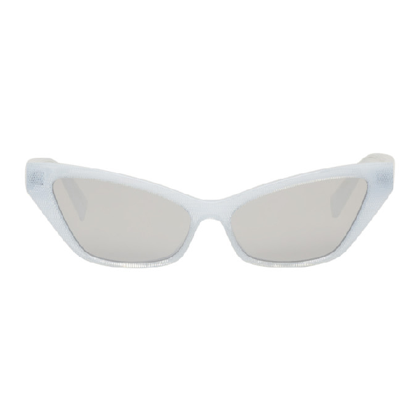 Oliver Peoples Alain Mikli Paris White Le Matin Sunglasses In 002/6g-whit