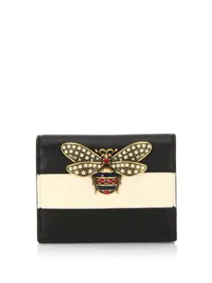 Gucci Queen Margaret Colorblock Leather Wallet In White/black