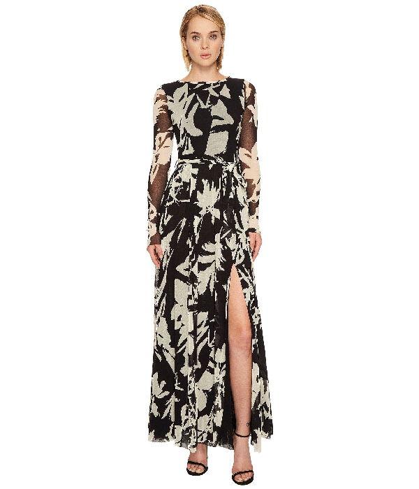 Fuzzi Long Sleeve Gown With High Slit Cover-up In Nero