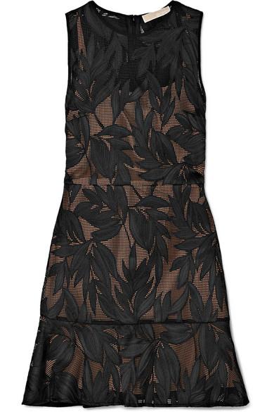 Michael Michael Kors Lace Mini Dress In Black