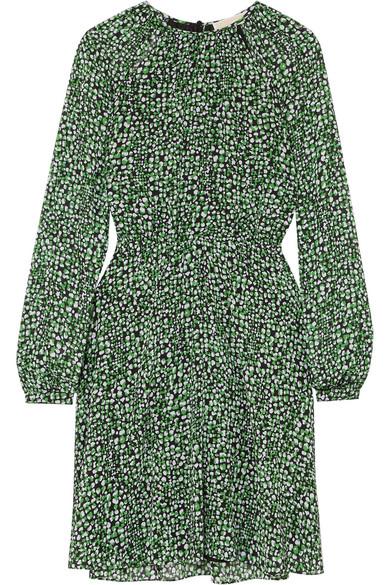 Michael Michael Kors Printed Chiffon Dress In Green