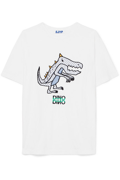 Sjyp Dino Embroidered Poplin-paneled Cotton-jersey T-shirt In White