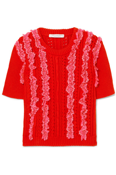 Philosophy Di Lorenzo Serafini Lace-trimmed Cable-knit Cotton Sweater In Red