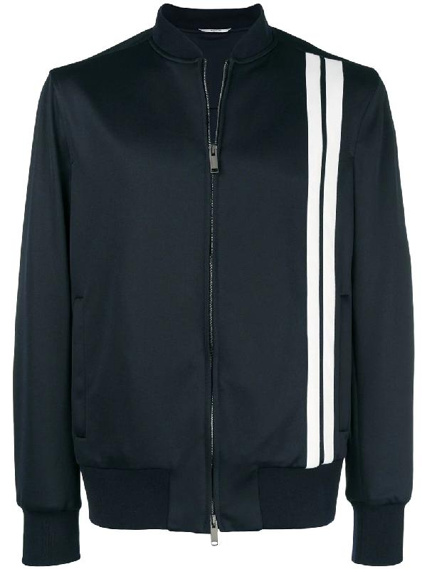 Valentino Vertical Stripe Inlays Sweatshirt With Vltn Logo Man Dark Blue Polyester 63%, Cotton 37% 48