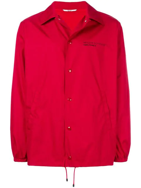 """Valentino """"coach Jacket With Vltn Print   """" Man Red Polyester 100% 46"""