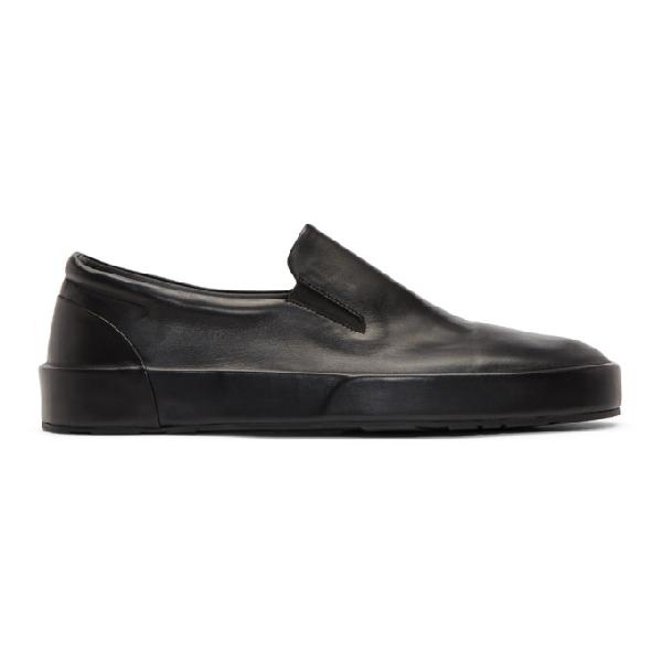 Jil Sander Black Softy Slip-on Sneakers In 7041 Black