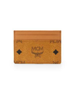 Mcm Heritage Card Case In Cognac