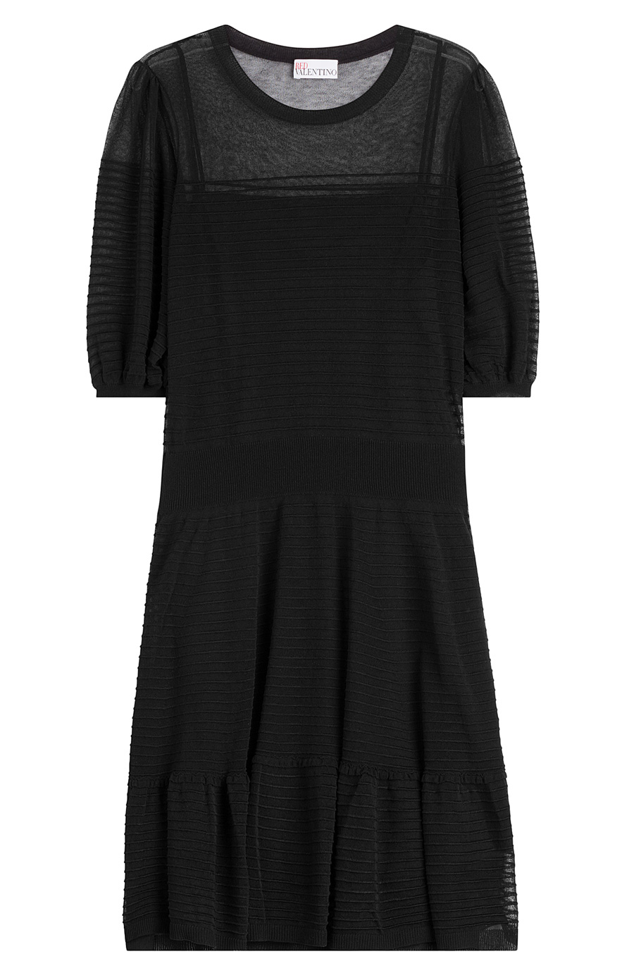Red Valentino Knit Cotton Dress In Black