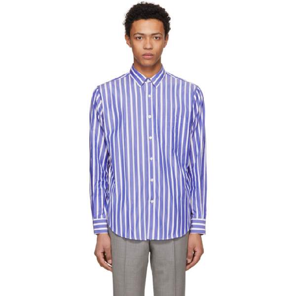Ami Alexandre Mattiussi Ssense Exclusive Blue And White Large Stripe Shirt In Bluewhite