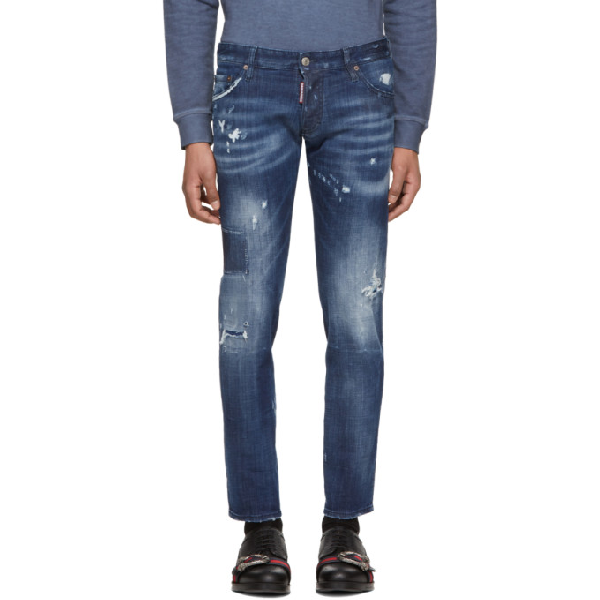 Dsquared2 Navy Regular Clement Jeans In 470 Navy