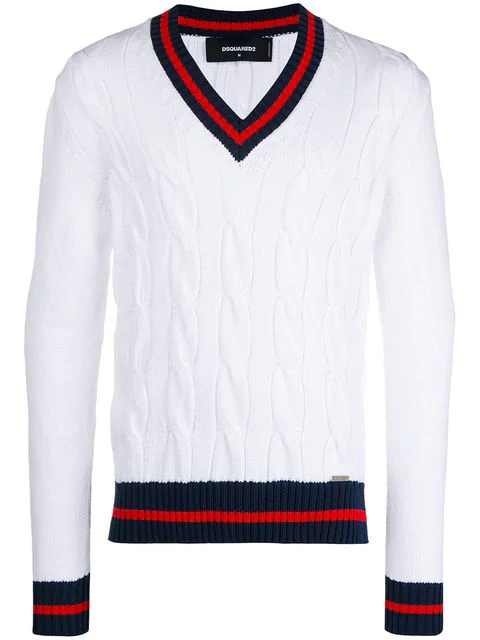 Dsquared2 Stripe-trimmed Jumper - White In 961 Whtrdbl