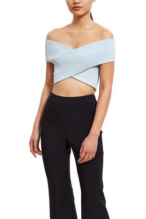 Opening Ceremony Off-the-shoulder Crop Top In Stone Blue