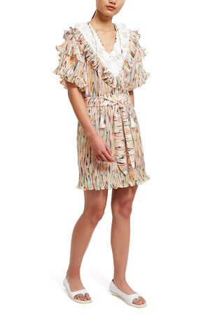 Opening Ceremony White Marble Ruffle Blouse In White Multi