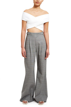 Opening Ceremony Gabardine Wide Leg Pant In Black Multi