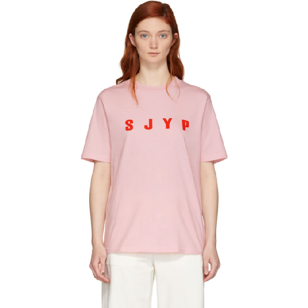 Sjyp Pink Logo T-shirt In Pire Pink R