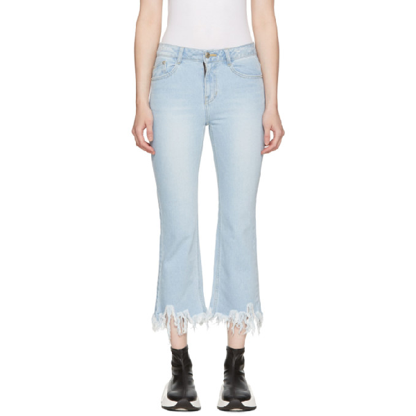 Sjyp Blue Ripped Hem Jeans In 0033 Denim