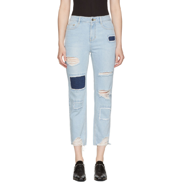 Sjyp Blue Patched Cut-off Jeans In 0033 Denim