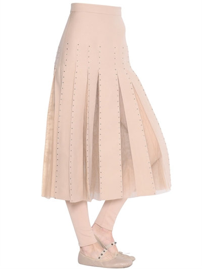 Valentino Embellished Crepe Couture & Tulle Skirt In Nude