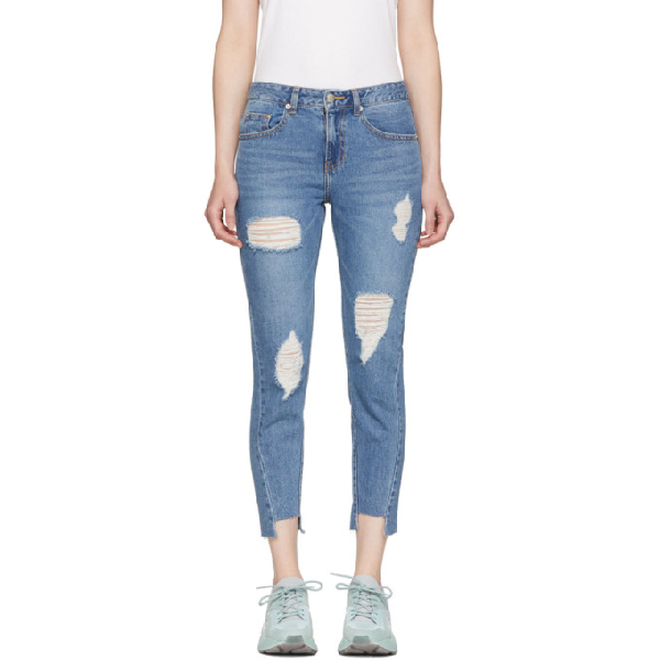 Sjyp Cropped Distressed Slim-leg Jeans In 0033 Denim