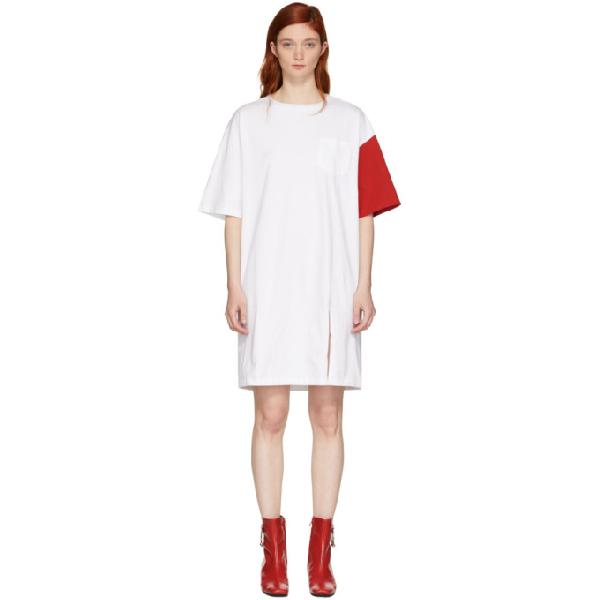 Sjyp White & Red 'california Club' T-shirt Dress