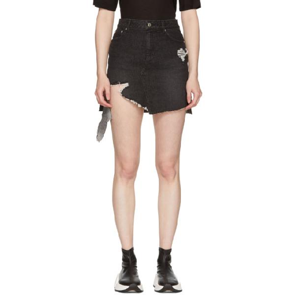 Sjyp Ssense Exclusive Black Denim Cut-off Miniskirt In 0090 Black