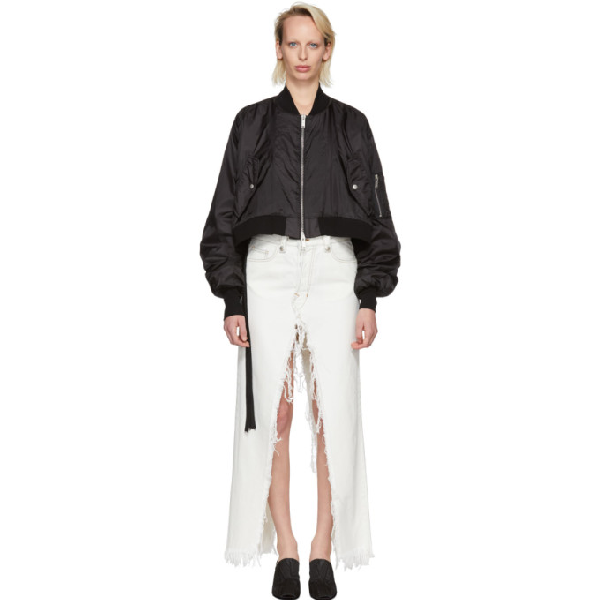 Ben Taverniti Unravel Project Unravel Black Ghost Reconstructed Chop Bomber Jacket In Antracite