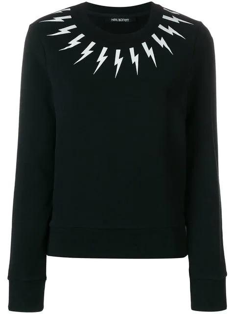 Neil Barrett Lightning Bolt Printed Sweatshirt In 524 Black