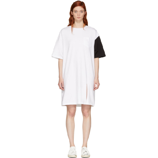 Sjyp Ssense Exclusive White And Black California Club T-shirt Dress In 0090 Black