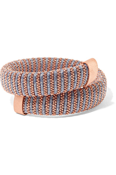 Carolina Bucci Caro Rose Gold-plated And Metallic Cotton Bracelet