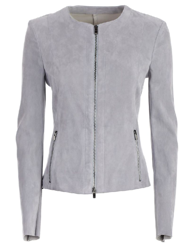 Drome Leather Jacket In Light Blue