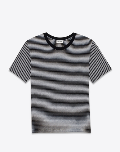 Saint Laurent Punk Rock Short Sleeve T-shirt In Black And Heather Grey Pasadena Striped Cotton Jersey