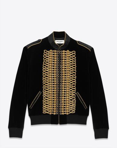 5ad710bcf6f Saint Laurent Slim-Fit Embellished Cotton-Velvet Bomber Jacket In Black