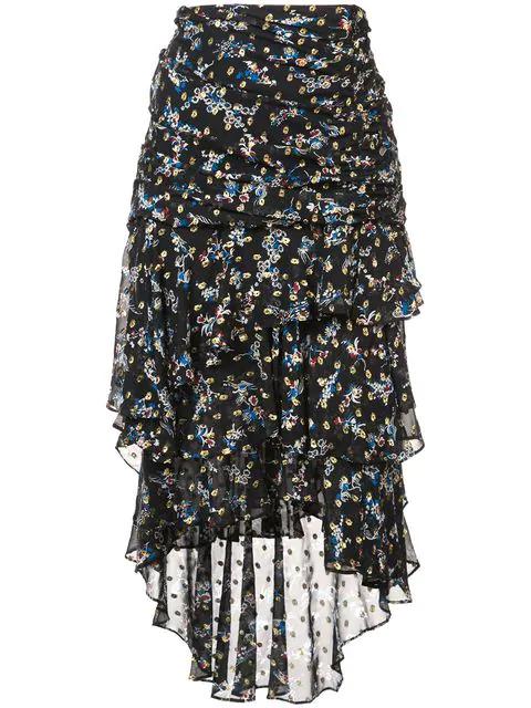 Veronica Beard Floral Print Frill Trim Skirt In Black
