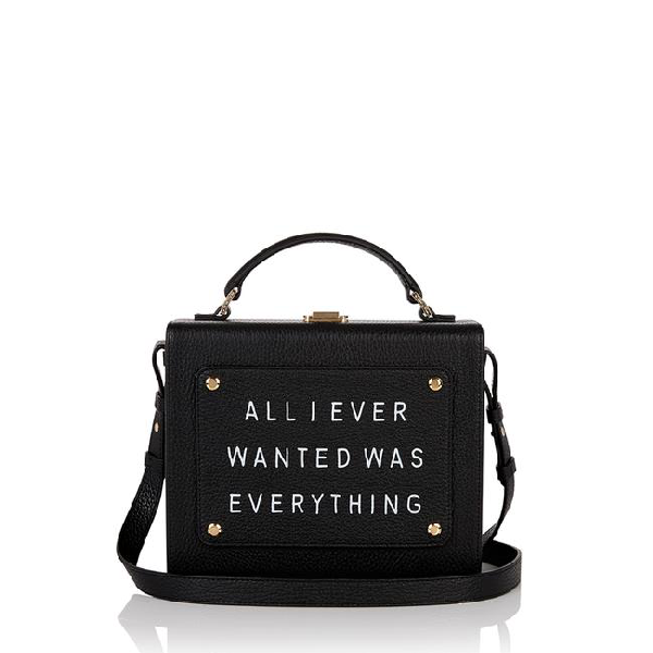 "Meli Melo Art Bag ""all I Ever Wanted Is Everything"" Olivia Steele Black Leather Bag For Women"