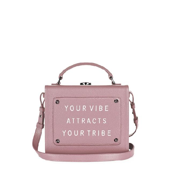"""Meli Melo Art Bag """"your Vibe Attracts Your Tribe"""" Olivia Steele Cameo Pink Bag For Women"""