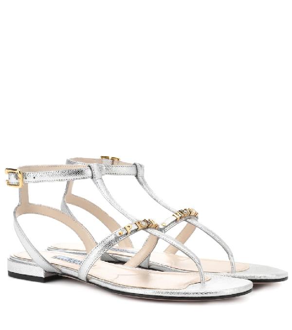 Prada Metallic Leather Sandals In Silver